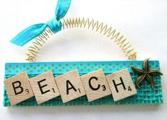 Beach Starfish Ocean Scrabble Tile by ScrabbleTileOrnament on Etsy Scrabble Letter Crafts, Scrabble Ornaments, Scrabble Tile Crafts, Scrabble Letters, Diy Christmas Ornaments, Beach Ornaments, Xmas, Wine Cork Crafts, Beach Crafts