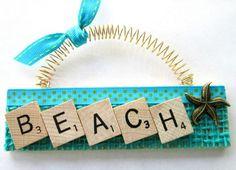 Beach Starfish Ocean Scrabble Tile by ScrabbleTileOrnament on Etsy Scrabble Letter Crafts, Scrabble Ornaments, Scrabble Tile Crafts, Beach Ornaments, Scrabble Letters, Diy Christmas Ornaments, Xmas, Wine Cork Crafts, Beach Crafts