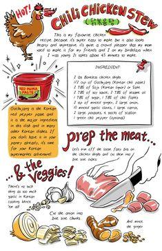 Robin Ha Explains Korean Food in Cartoons - Arts Desk - Lebensmittel South Korean Food, Korean Street Food, Asian Recipes, New Recipes, K Food, Rice Food, Food Box, Recipe Drawing, Cute Food Art