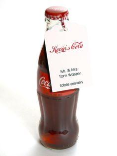 Soda Bottle Place Card Tag Coke Wedding by InvitationToShine