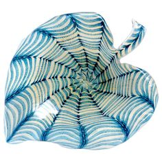 Ercole Barovier Toso Murano Gold Flecks Blue Spiderweb Italian Art Glass Bowl | From a unique collection of antique and modern centerpieces at https://www.1stdibs.com/furniture/dining-entertaining/centerpieces/