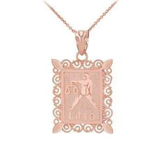 Fine 14k Rose Gold Filigree-Style Rectangular Frame Libra Zodiac Sign Pendant Necklace f you know someone who loves astrology, then why not consider getting them the perfect astrological gifts. Unique gifts for astrology lovers are trendy right now because it is more of a personalized gift. You can buy a gift based on zodiac sign and personality. Here you will find great gift ideas for Pisces, Capricorn, Aries, Scorpio, Taurus, Virgo, Libra, Gemini, Sagittarius, cancer and Leo