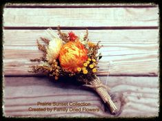 Prairie Sunset Collection - Pin Corsage - Burnt orange, cream, golden yellow - Rustic Fall Wedding - Mother - Bridal Dried Flowers on Etsy, $16.00