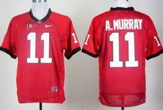 Georgia Bulldogs 11# Aaron Murray Red College Football NCAA Jerseys