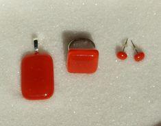 Fused glass Jewelry set, Red glass Jewelry, Handmade