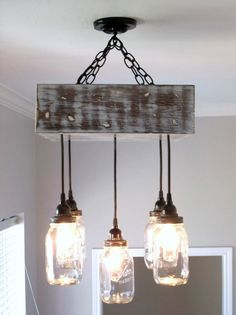 Mason Jar Chandelier- Square / Ceiling Light with Canopy- Mason Jar Lighting, Rustic Lighting, Custom Lighting- Mason Jar Decor