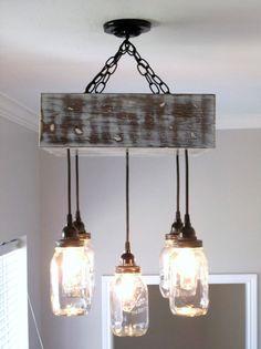 Mason Jar Chandelier- Square / Ceiling Light with Canopy- Mason Jar Lighting, Rustic Lighting, Custom Lighting- Mason Jar Decor