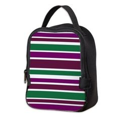 Lunch Bag bold purple green stripes #cafepress #accessories #gifts