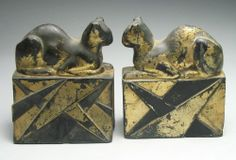 Rare Pair of Pompeian Bronze Art Deco Egyptian Cat Bookends