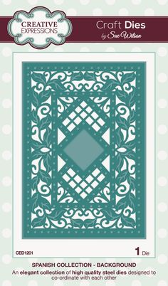 """Background ~ Spanish Collection CED1201 -- 1 craft die. Size: 106mm x 156mm approx. (4.17"""" x 6.14"""")"""