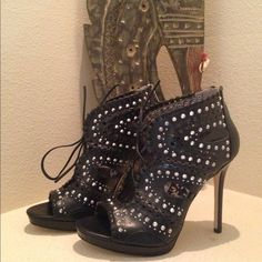 "Sam Edleman studded gladiator platform sandal Beautiful black silver studded cutout gladiator sandals. 1/2 inch platform with 4 1/2"" heel. Lace front closure and zipper up the back. Padded for comfort. Sam Edelman Shoes Heels"