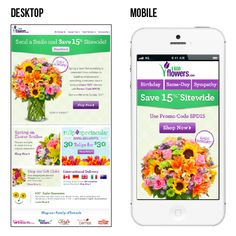 1-800-flowers completely optimized this email campaign for mobile. The call-to-action buttons stand out prominently in the mobile version. The single bouquet image and concise text also help make this email easy to view on mobile devices. #emailmarketing #mobileoptimization