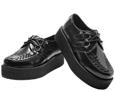 Black Leather Viva Mondo Creepers