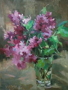 "First Pick Lilacs by Mary Maxam Oil ~ 9"" x 7"""