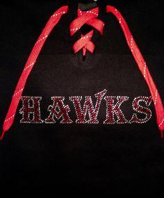 HAWKS Rhinestone T-shirt -  Shirt, Tshirt, Vneck T, Long Sleeve T, Hoodie.  Mascot Team/School Great gift!!  GO HAWKS!!