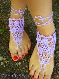 Hand crochet pure cotton sexy barefoot sandals purple door DachuksB