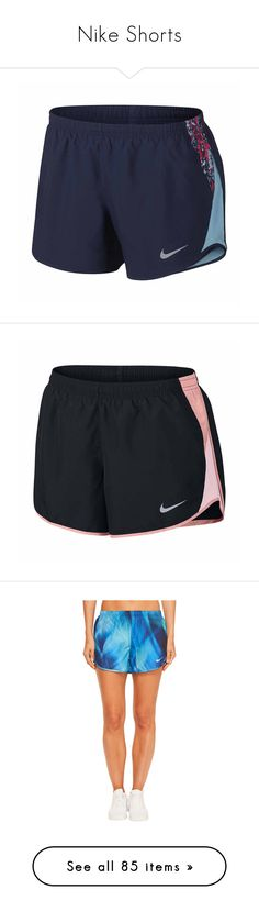 """Nike Shorts"" by lanie-rae ❤ liked on Polyvore featuring activewear, activewear shorts, nike, nike sportswear, nike activewear, sports activewear, pink sportswear, women, athletic sportswear and multicolor"
