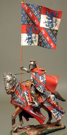 French Knight with Standard Armadura Medieval, Classical Antiquity, Templer, Military Figures, Knight Armor, Medieval Knight, Miniature Figurines, Fantasy Miniatures, Chivalry