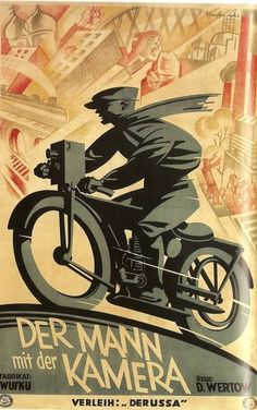 """From RMG Graphica. Site says """"Original Vintage Film Poster Der Mann mit der Kamera 1929   This large-scale German distribution poster for Čelovek s kinoapparatom was designed by the graphic artist Sachs Kupfer. While the eponymous hero films with a camera while riding on his motorbike, the world oscillates around him like an expressionist collage. """" so sleek and cool."""