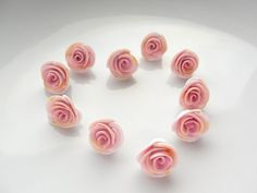 Pink and gold polymer clay rose beads fizzyclaret