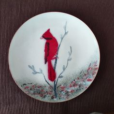 Vintage Bovano Copper Enamel Dish Red Cardinal by VLCCollectables