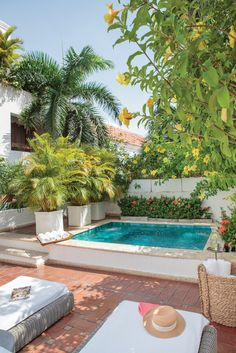 A Premium Suite shows off a private patio with Jacuzzi and lovely view of the interior gardens. Backyard Pool Designs, Small Backyard Pools, Small Pools, Swimming Pools Backyard, Backyard Landscaping, Small Pool Design, Beautiful Pools, Outdoor Gardens, Rooftop Gardens