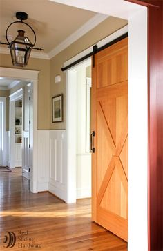 placed on molding Barn Door Hardware Photo Gallery by Real Sliding Hardware (pg - July 14 2019 at Wood Barn Door, Carriage Doors, Sliding Barn Door Hardware, Sliding Doors, Double Barn Doors, Home Upgrades, Interior Barn Doors, Home Remodeling, Modern