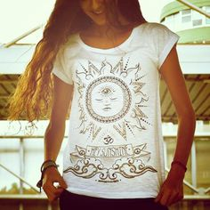 HEY SUNSHINE spiritual yoga woman tshirt by myPositiveVibes, $25.00