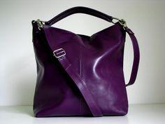 Leather Handbag Purple - Messenger Bag Tote