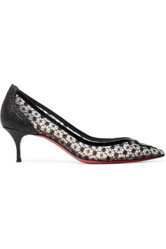 Christian Louboutin - Neomid 55 Embroidered Mesh And Leather Pumps - Black - IT35.5