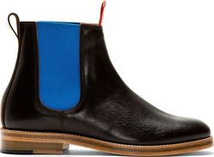Junya Watanabe: Brown & Blue Colorblocked Chelsea Boots