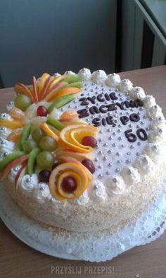 Tort urodzinowy na 50 urodziny Cake, Food, Pie Cake, Meal, Cakes, Essen, Hoods, Cookies, Meals