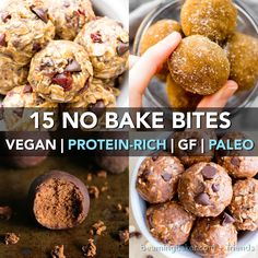 15 Healthy Protein-Packed No Bake Energy Bite Recipes (V, GF): a tasty collection of protein-rich no bake bites made with whole ingredients. Vegan, GF.