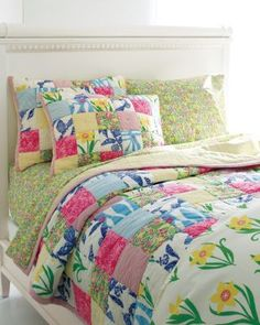 Lilly Pulitzer® Patchwork Quilt and Sham. Perfect for a pop of color with many different patterns in the patch work