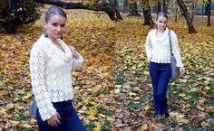 White crochet sweater.