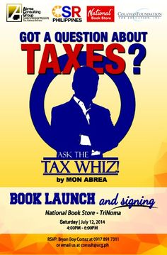 """""""Got a Question About Taxes? Ask the Tax Whiz! National Book Store, Pop Culture News, Book Launch, Product Launch, Books, Libros, Book, Book Illustrations, Libri"""