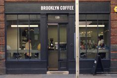 """fuck i love this word """"brooklyn"""" since i've been to NY… Brooklyn Coffee Brooklyn Coffee, Coffee London, Cafe Interior, Shop Interior Design, Restaurant Design, Restaurant Bar, Café Bistro, Shop Facade, Cafe Sign"""