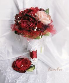 Wedding / Fabric Flower / Bouquet / Burgundy / Berry / Bridal / Brooch Bouquet / Boutonniere - pinned by pin4etsy.com