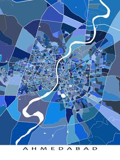 An Ahmedabad map print featuring the city of Ahmedabad, Gujarat, India.   This city map has a modern, abstract art design made from lots of little blue shapes. Each shape is actually a city block or a piece of land - and these shapes combine like a puzzle or mosaic to form this map print / poster. #ahmedabad #india #map
