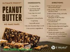 Peanut Butter no bake bars! A Healthy, Protein & fiber packed Recipe! SO easy with It Works Ultimate ProFit shake mix and perfect to bust those snack cravings! Click or visit Danielle12.com to get yours now!