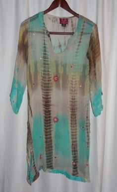 DENNING-KANE-LONDON-Silk-Sheer-Beach-Cover-Up-Top-Blouse-Size-Small