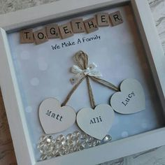 This Personalised Scrabble Frame is the Perfect Gift For Everyone and Every Occasion! Lots Of different words/ quotes can be used, extra hearts can be added ( for bigger families) at no extra cost. **ordering information** After youve added to cart there is a note to seller box where Scrabble Crafts, Scrabble Frame, Scrabble Art, Gifts For Husband, Gifts For Family, Craft Gifts, Diy Gifts, Cadre Photo Diy, Cadeau Couple