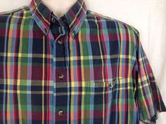 Roundtree & Yorke Mens Large Madras Multicolored Plaid Short Sleeve Shirt #RoundtreeYorke #ButtonFront