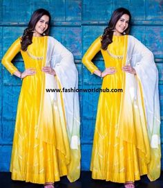 Rashi khanna in yellow Anarkali | Fashionworldhub