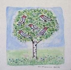ARTFINDER: The Singing Tree by Catherine O'Neill - Embroidered transfer from an original watercolour painting. Printed and stitched on cotton fabric. Embellished with beads and french knots.  This picture a...