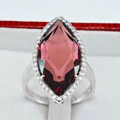 Free Shipping 28.55ct 100% Purple Sapphire White Sapphire 925 Silver Ring 8P