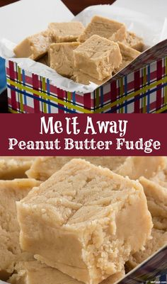 Away Peanut Butter Fudge - For a peanut butter fudge that literally melts in your mouth, this is the recipe you need. -Melt Away Peanut Butter Fudge - For a peanut butter fudge that literally melts in your mouth, this is the recipe you need. Köstliche Desserts, Delicious Desserts, Dessert Recipes, Yummy Food, Recipes Dinner, Peanut Butter Recipes, Fudge Recipes, Easy Peanut Butter Fudge, Peanut Butter Candy