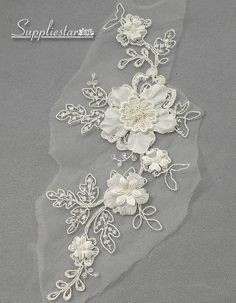 Ivory Floral Alencon Tulle Lace Applique, Wedding Gown Lace Applique, Garment Alencon Lace, Headpieces, Garter Accessory, Item No.554