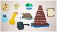 Felt foods for I Know an Old Lady Who Swallowed a Pie, book by Alison Jackson - - so much fun to make!