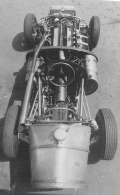 Vanwall VW10. Ferrari derived transaxle, cockpit layout, rear and twin side fuel tanks and radius rods to locate rear suspension fore/aft all visible.